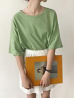 Feminino Camiseta Casual Simples Verão,Sólido Algodão Decote Redondo Manga Curta