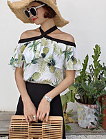 Women's Casual/Daily Simple Blouse,Print Boat Neck Short Sleeves Cotton Linen Others