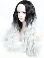 новое прибытие средняя часть натуральный рыхлая волна ombre серый парики для женщин костюмы парики cosplay парики