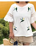 T-shirt Da donna Per uscire Romantico Ricamato Rotonda Cotone Mezza manica