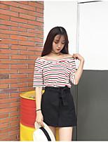 Damen Gestreift Einfach Sport T-shirt,Rundhalsausschnitt Kurzarm Baumwolle Acryl