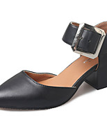 Women's Heels Comfort PU Spring Summer Casual Office & Career Buckle Chunky Heel Yellow Beige Black 1in-1 3/4in