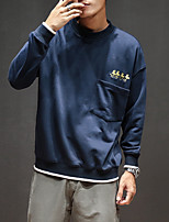 Men's Sports Going out Casual/Daily Sweatshirt Solid Round Neck Micro-elastic Polyester Others Long Sleeve Spring Fall