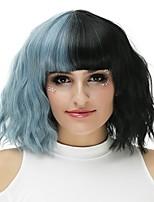 Femme Perruque Synthétique Sans bonnet Mi Longue Ondulés Noir / Bleu à fumée Perruque Halloween Perruque de fête Perruque de carnaval