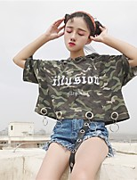 Women's Casual/Daily Simple T-shirt,Camouflage Hooded Short Sleeves Cotton