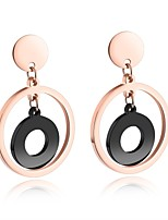 Simple and fashionable small rose gold circle round cake black ring middle ring ear nail eardrop girl delicate temperament