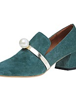 Women's Heels Comfort Summer PU Dress Pearl Block Heel Black Green Blue 2in-2 3/4in