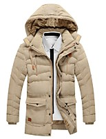 Men's Long Padded Coat,Vintage Going out Casual/Daily Solid-Cotton Polyester Long Sleeves