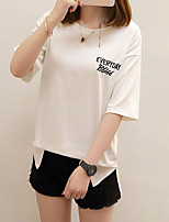 Women's Going out Cute T-shirt,Solid Round Neck Short Sleeves Others