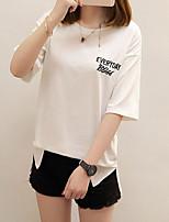 Damen Solide Niedlich Ausgehen T-shirt,Rundhalsausschnitt Kurzarm Andere