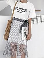 T-shirt Gonna Completi abbigliamento Da donna Casual Semplice Estate,Tinta unita A strisce Rotonda Manica corta