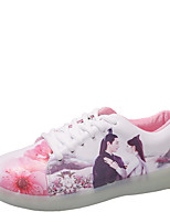 Women's Sneakers Light Up Shoes Fall Winter PU Casual Lace-up Flat Heel White 1in-1 3/4in