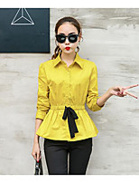Women's Casual/Daily Simple Shirt,Solid Shirt Collar 3/4 Length Sleeves Cotton
