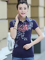Damen Druck Einfach Lässig/Alltäglich T-shirt,Rundhalsausschnitt Kurzarm Baumwolle Andere