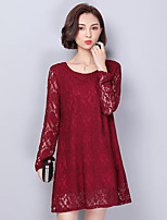 Women's Plus Size Casual/Daily Street chic Loose Dress,Jacquard Round Neck Above Knee Long Sleeves Polyester Spring Fall Mid Rise