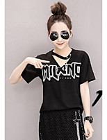 Women's Casual/Daily Simple T-shirt,Solid Letter Round Neck Short Sleeves Cotton