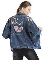 Maxlindy Women's Holiday Going out Casual/Daily Vintage Street chic Sophisticated Fall Winter Denim Jacket Coat