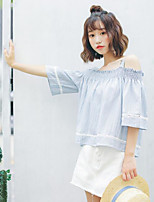 Women's Casual/Daily Sexy Blouse,Solid Strap Half Sleeves Cotton