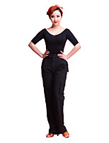 Latin Dance Bottoms Women's Performance Cotton Polyester Mercerized Cotton 1 Piece Natural Pants