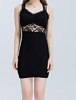 Damen Bodycon Kleid-Ausgehen Lässig/Alltäglich Street Schick Solide V-Ausschnitt Mini Ärmellos Baumwolle Sommer Mittlere Hüfthöhe