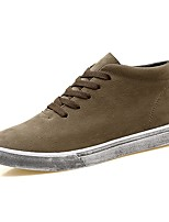 Men's Sneakers Comfort Light Soles PU Canvas Spandex Fabric Fall Winter Casual Lace-up Flat Heel Khaki Gray Black Flat