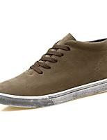 Men's Sneakers Comfort Light Soles PU Canvas Spandex Fabric Fall Winter Casual Lace-up Flat Heel Khaki Gray Black Flat