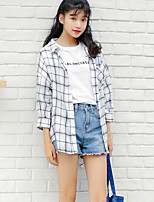 Women's Going out Simple Shirt,Solid Striped Shirt Collar Long Sleeves Cotton