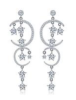 Per donna Orecchini a goccia Tasselli Personalizzato Stile semplice Multistrato Bling Bling Argento sterling Zirconi Argento placcato