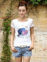 Women's Casual/Daily Cute T-shirt,Solid Print Round Neck Short Sleeves Cotton