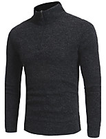 Men's Daily Long Pullover,Solid Round Neck Long Sleeves Polyester Winter Fall Thick Micro-elastic