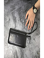 Men Checkbook Wallet PU All Seasons Event/Party Office/Career Casual Office & Career Rectangle Rivet Tassels Zipper Black
