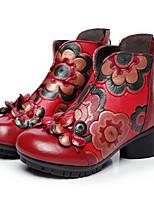 Damen Stiefel Komfort Leder Herbst Normal Schwarz Rot 7,5 - 9,5 cm