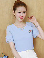 Women's Casual/Daily Simple T-shirt,Embroidery V Neck Short Sleeves Cotton