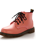 Women's Boots Comfort Novelty Combat Boots Fall Winter PU Casual Outdoor Office & Career Lace-up Flat Heel Blushing Pink Red Brown Black