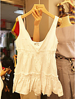 Women's Going out Casual/Daily Simple Cute Tank Top,Solid Strap Sleeveless Cotton