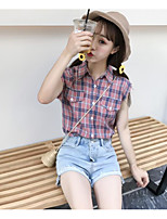 Women's Going out Simple Shirt,Plaid Shirt Collar Sleeveless Cotton