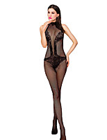 cheap -Women's Suits Nightwear,Crew Neck Jacquard-Thin Nylon Spandex Black