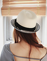 Women's Straw Straw Hat Sun Hat,Casual Vacation Hats Solid Summer Pure Color Bow