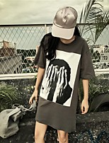 Women's Casual/Daily Street chic Summer T-shirt,Print Round Neck Short Sleeves Cotton Medium