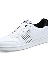 Men's Sneakers Comfort PU Spring Fall Athletic Casual Outdoor Lace-up Flat Heel Blue Black White Flat