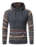 Men's Plus Size Plus Size Going out Casual/Daily Simple Street chic Hoodie Print Cut Out Hooded Micro-elastic Cotton Long Sleeve Fall