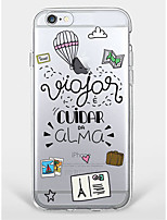Étui pour iphone 7 plus iphone 6 word / phrase motif de dessin animé téléphone soft shell pour iphone 7 iphone6 ​​/ 6s plus iphone6 ​​/ 6s