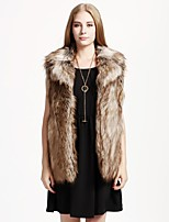 Women's Going out Casual/Daily Simple Fall Winter Vest,Solid Shawl Lapel Sleeveless Regular Faux Fur Acrylic