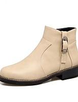 Women's Boots Fashion Boots Leatherette Fall Winter Casual Dress Buckle Zipper Chunky Heel Gray Beige Black 1in-1 3/4in