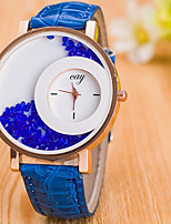 Women's Floating Crystal Watch Quartz Leather Band Casual Black White Blue Red Brown Purple Rose