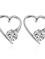 Women's Stud Earrings Cubic Zirconia Basic Silver Heart Jewelry For Wedding Party Gift Daily Casual