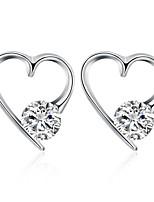Per donna Orecchini a bottone Zircone cubico Classico A forma di cuore Gioielli Per Matrimonio Feste Quotidiano Casual
