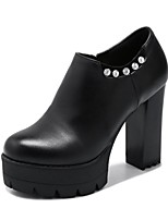 Women's Boots Gladiator Fashion Boots Leatherette Fall Winter Office & Career Dress Rhinestone Applique Beading Zipper Chunky HeelBlack