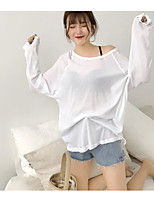 Tee-shirt Femme,Couleur Pleine Décontracté / Quotidien simple Manches Longues Une Epaule Coton