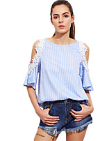 Women's Going out Simple T-shirt,Striped Round Neck Short Sleeves Polyester